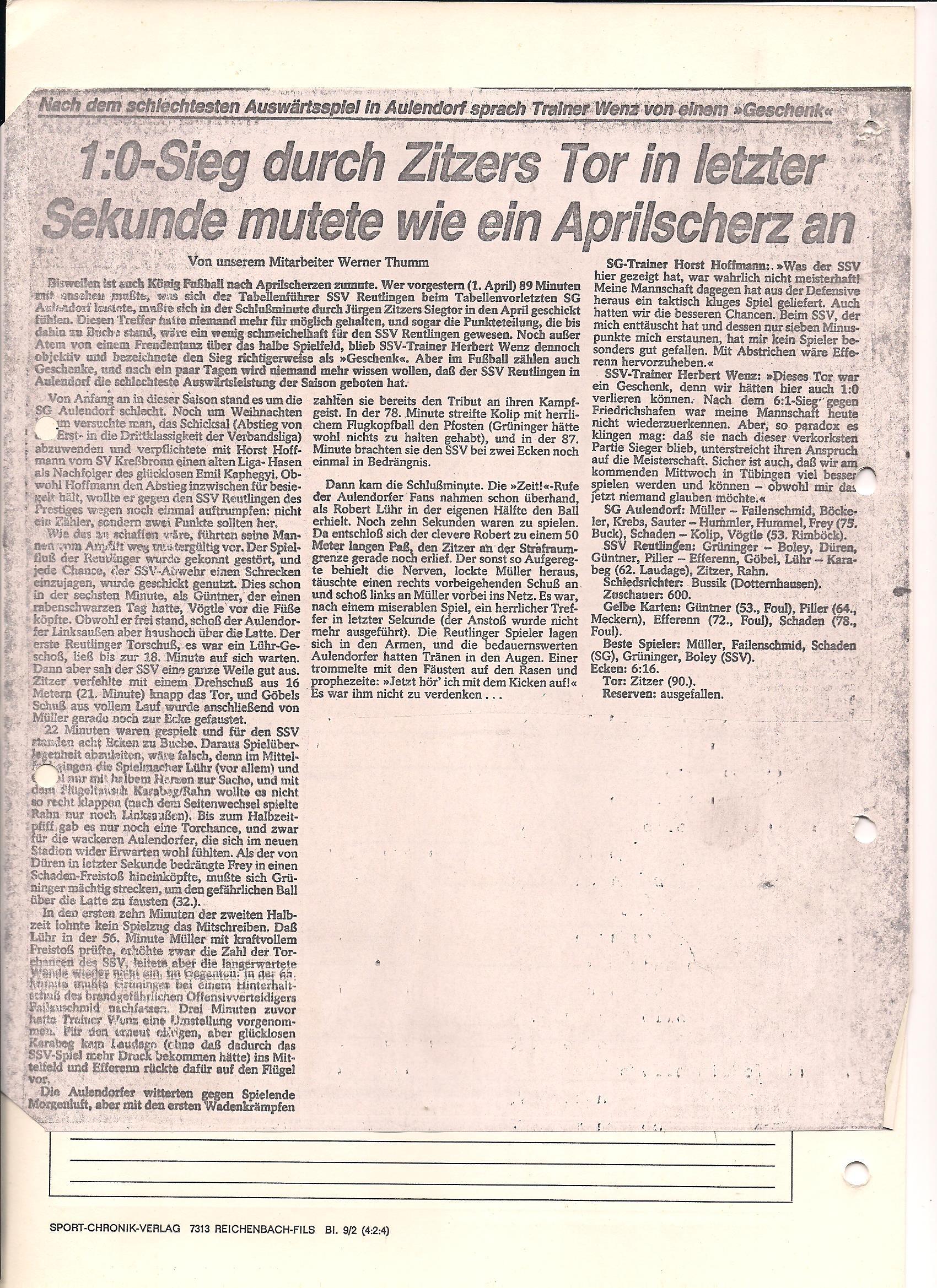 SG Aulendorf Bericht SGA-SSV Reutlingen Saison 1977-1978