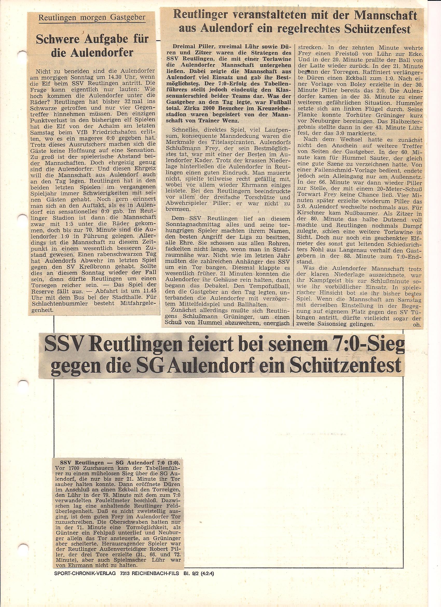 SG Aulendorf - SSV  Reutlingen-SGA Saison 1977-1978