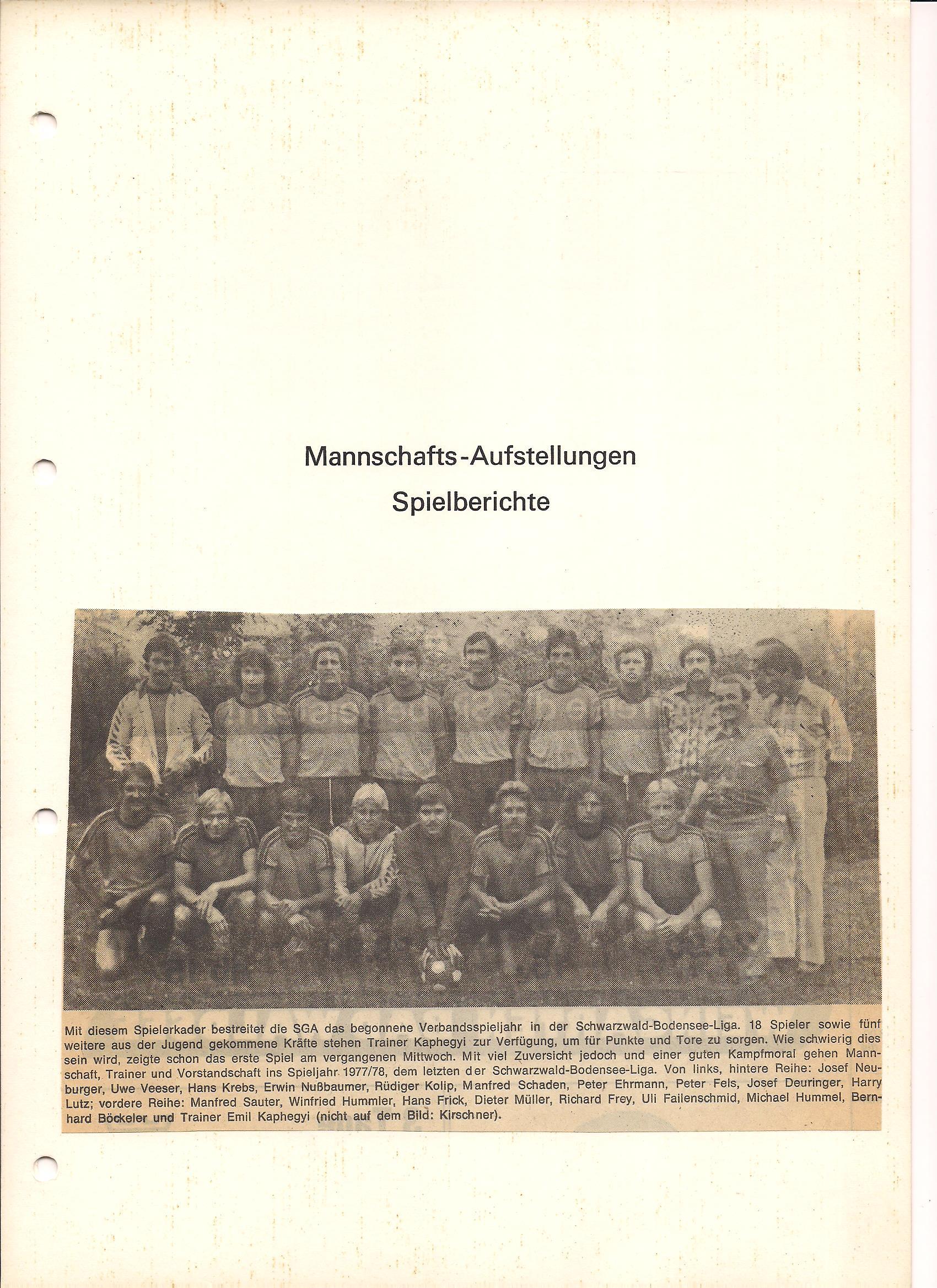 SG Aulendorf Mannschaft Saison 1977-1978