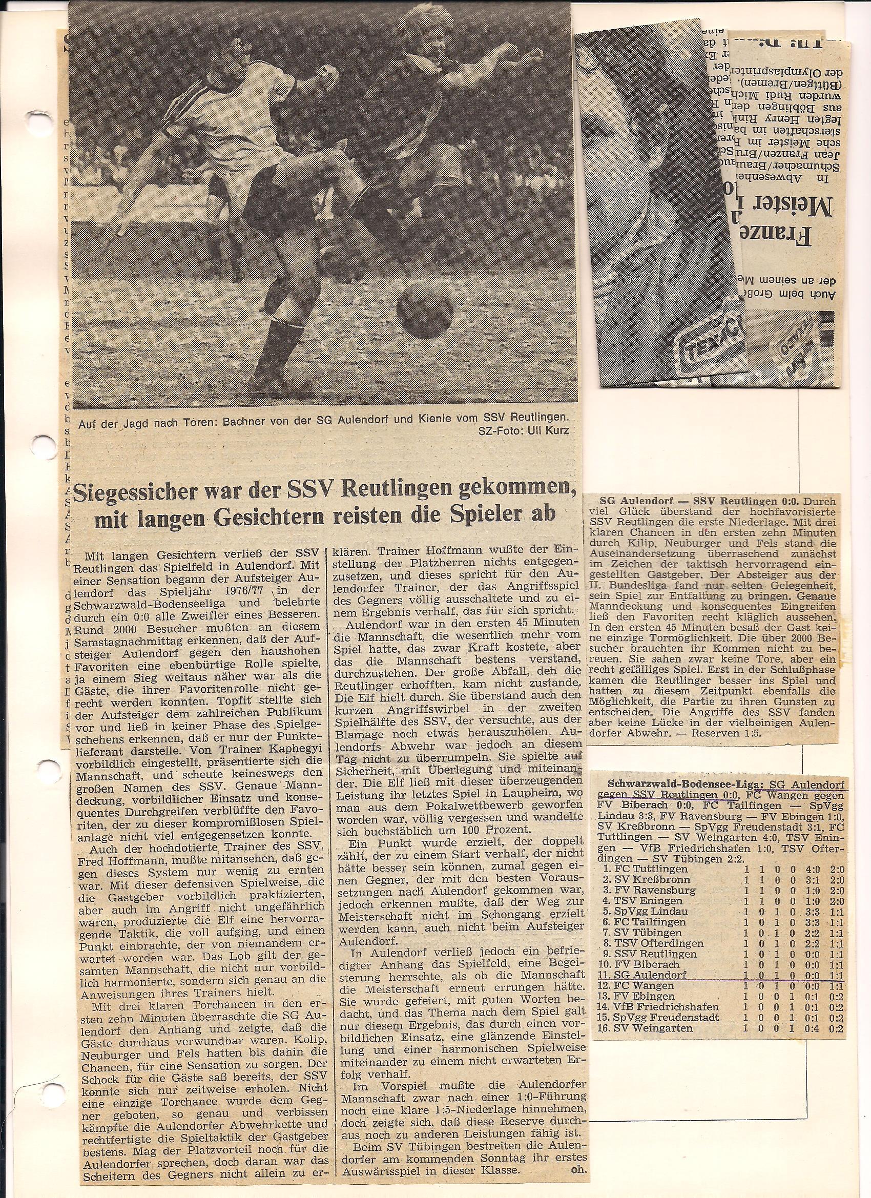 SG Aulendorf - Zeitungsbericht 1. Punktspiel gegen ZweitligaabsteigerReutlingen Saison 1976-1977