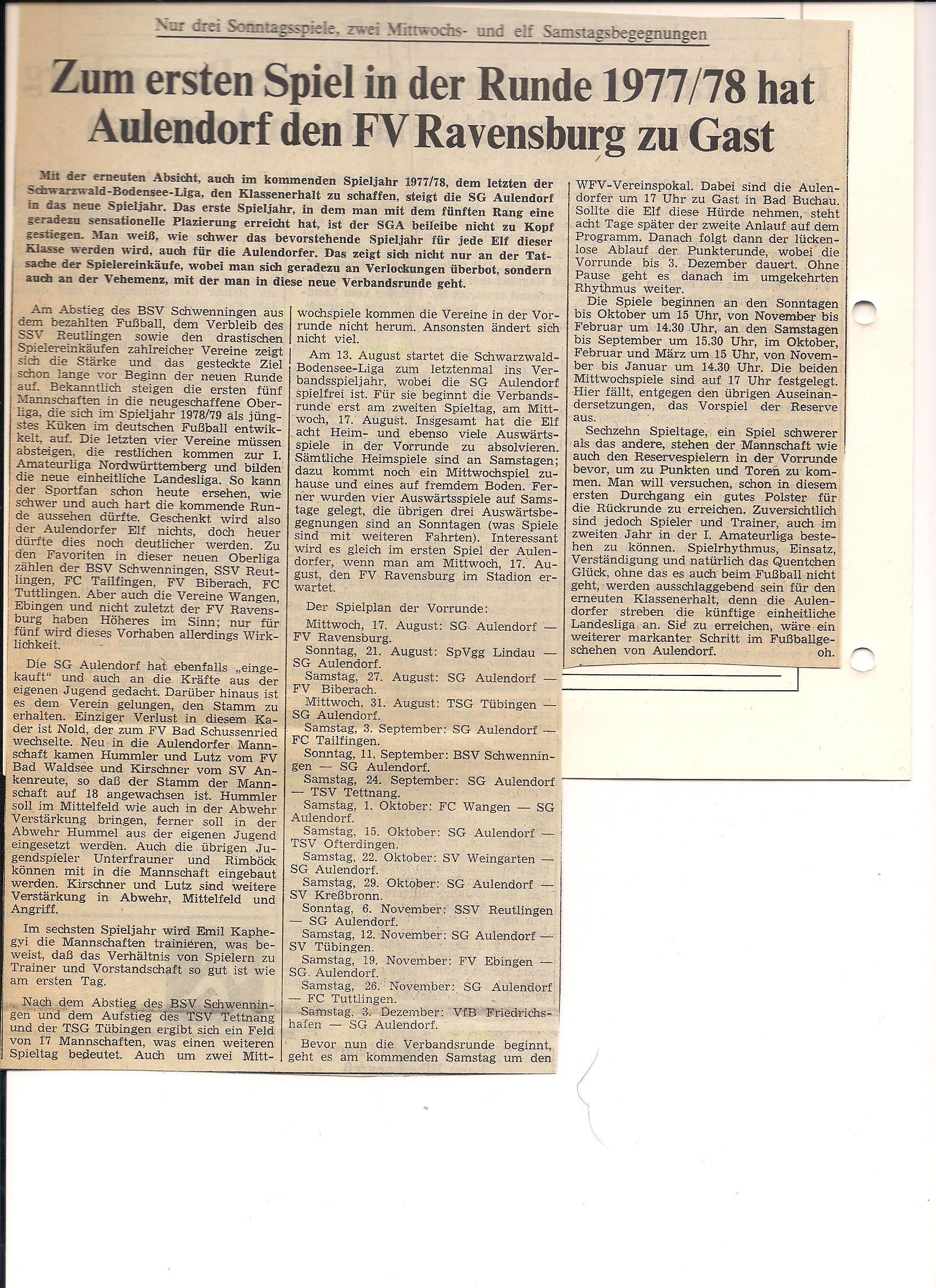 SG Aulendorf Zeitungsbericht Vorschau Saison 1977-1978