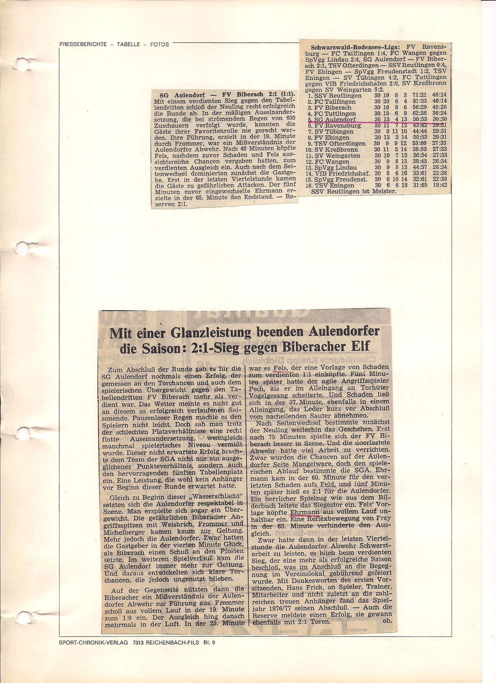 SG Aulendorf Zeitungsbericht letztes Saisonspiel Saison 1976-1977